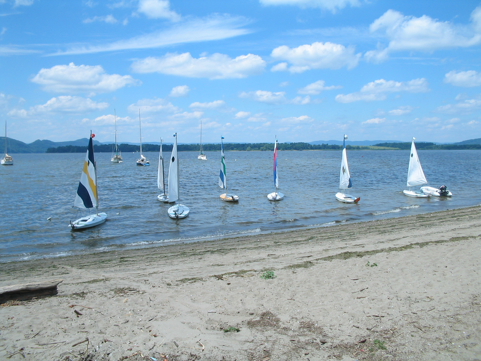 Shattemuc Beach with sailboats